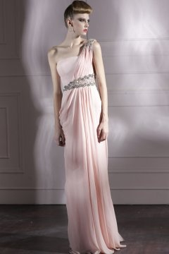 Thatcham Pink One Shoulder Pleats Graduation Dress