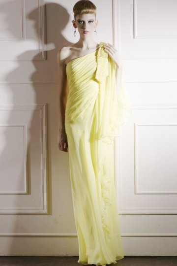 Sheath One Shoulder Beaded Bow Yellow Tencel Prom / Evening Dress