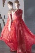 Vestido de Fiesta de baile de Lyocell Rojo con Solo Hombro Abalorio Corte A