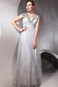 A line V neck Beading Ruched Tulle Prom / Evening Dress