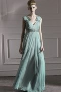 Beading V neck Soft Tencel A line Formal Dress