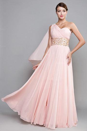 Elegant One Shoulder Pink A Line Bridesmaid Dress