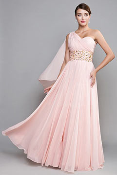 Tring Pink One Shoulder Empire Graduation Dress
