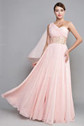 Elegant One Shoulder Pink A Line Bridesmaid Dress