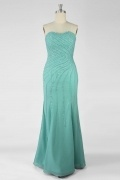 Draping Beading Sweeteart Chiffon Trumpet Evening Dress