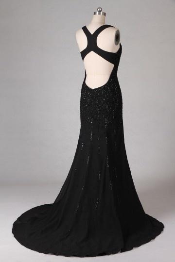 Sexy tiefer V-Ausschnitt Paillette schwarzes Meerjungfrau Ballkleid ... f5f8676303