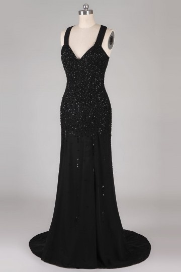 Sexy Low V neck Sequined Black Mermaid Prom / Evening Dress