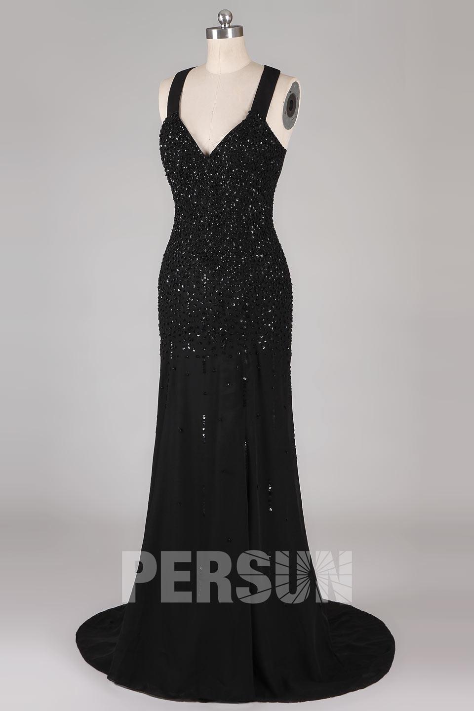 Sexy Tiefer V-Ausschnitt Meerjungfrau-Stil Sequins lange Abendkleid aus Chiffon