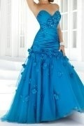 Trumpet Strapless Sweetheart Applique Prom Dress