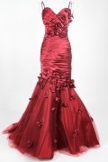 Pleats Appliques Sweetheart Taffeta & Tulle A line Formal Dress