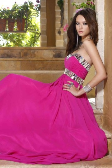Beading Strapless A line Tencel Prom Dress