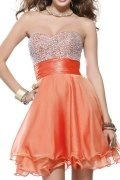 A-line Strapless Sweetheart Beaded Organza Short Prom Dress