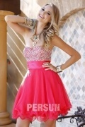 Beaded Strapless Short A line Organza Prom Dress