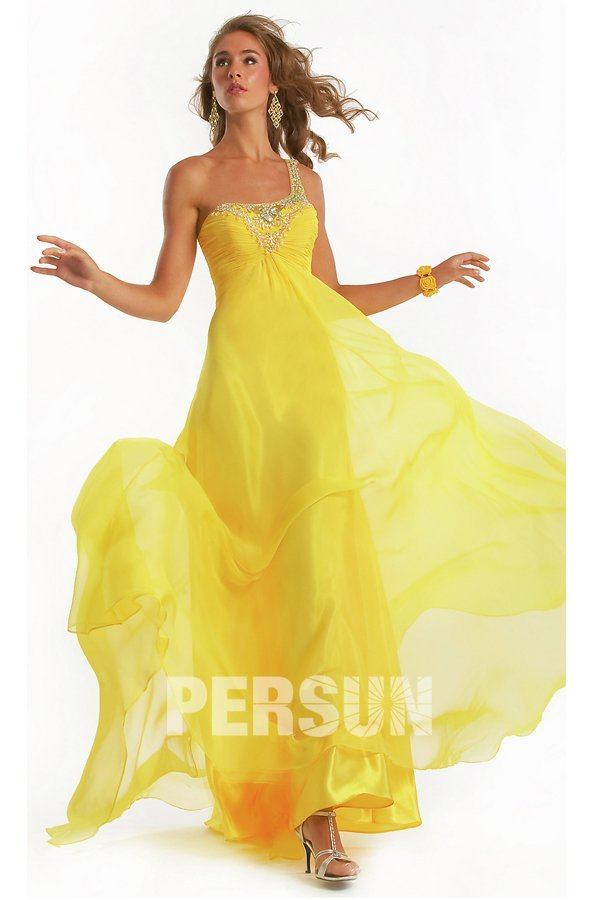 Yellow one strap Maxi Evening gown