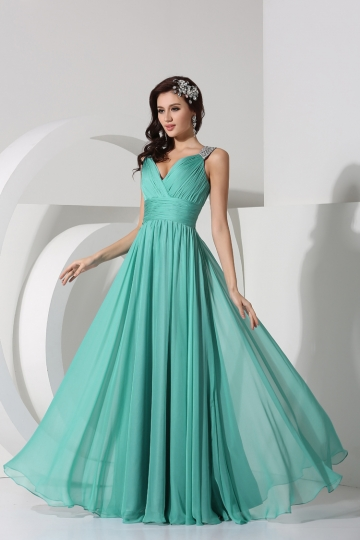 Dressesmall Sexy Pleated V neck Chiffon A line Evening Dress