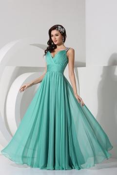 Pleated Beading V neck Sleeveless Chiffon Long Evening Dress