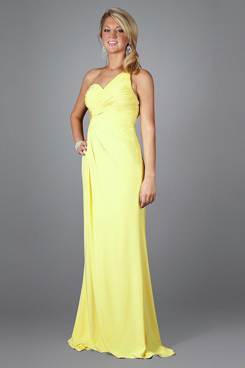 elegantes ein schulter perlen verziertes gelbes abendkleid 850 abendkleider online kaufen. Black Bedroom Furniture Sets. Home Design Ideas