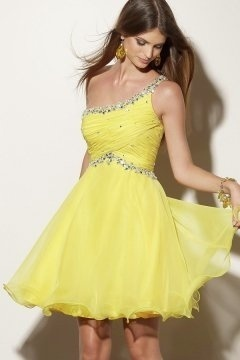Chic One Shoulder Pleats Chiffon Beading Short Yellow Prom Dress