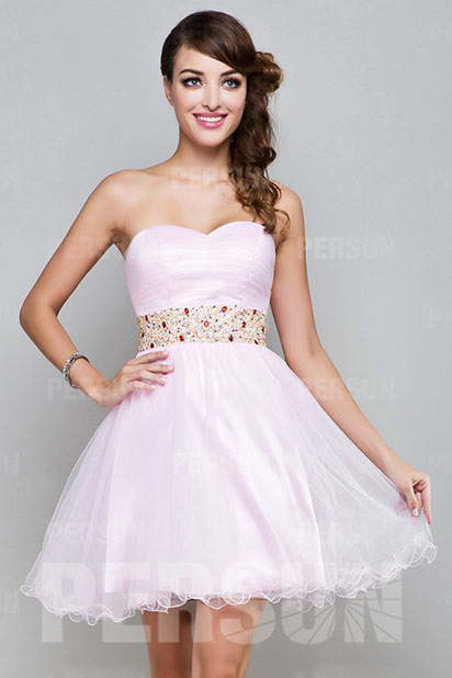 Cute Beaded Sweetheart A line Tulle Cocktail Dress
