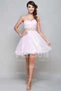 Cute Beaded Sweetheart A line Tulle Bridesmaid Dress