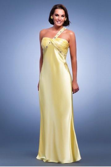 elegantes etui linie ein schulter gelbes satin abendkleid 875 abendkleider online kaufen. Black Bedroom Furniture Sets. Home Design Ideas