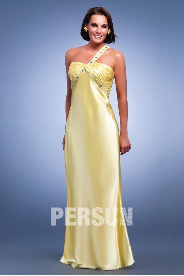 elegantes etui linie ein schulter gelbes satin abendkleid. Black Bedroom Furniture Sets. Home Design Ideas