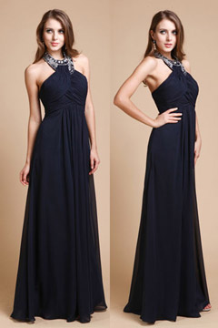 Beaded Ruched Halter Floor Length A Line Chiffon Prom Dress