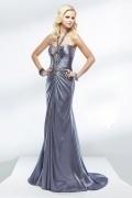 Beading Halter keyhole Floor Length Sheath Satin Prom Dress