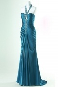 Sheath Halter Beading keyhole Floor Length Prom / Evening Dress