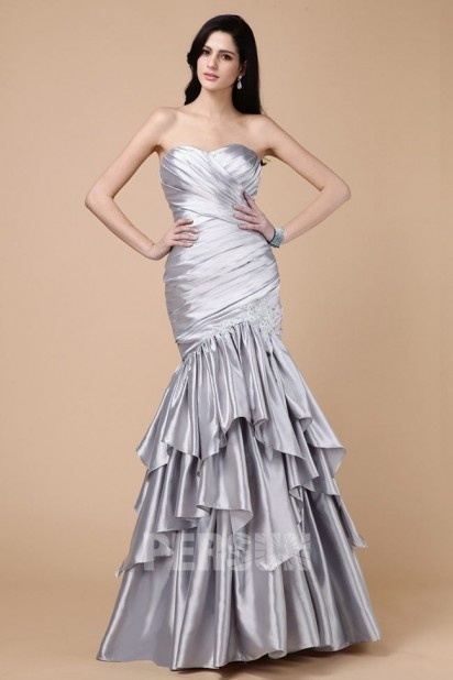 Dressesmall Classic Tiers Crystal Sweetheart Tulle Trumpet Formal Dress