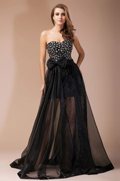 Beading Pleats Bow Sweetheart Organza A line Evening Dress