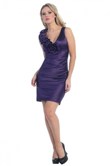 Applique Ruching V neck Taffeta Short Column Wedding Party Dress