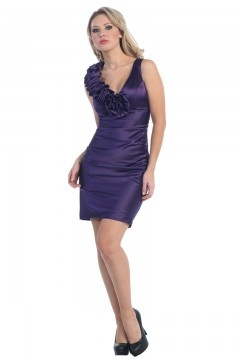 Whitehaven V neck Applique Ruching Mini UK Prom Dress