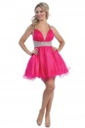 Beading Halter Tulle Short Fuchsia Cocktail Dress