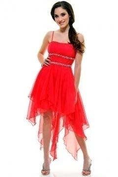 Rye Spaghetti Straps belt High Low Red UK Prom Dress