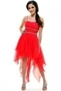 Red Chiffon A Line Empire Beading Tea Length Cocktail Dress