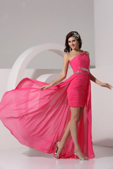 Dressesmall Beading One Shoulder Chiffon Fuchsia Column Formal Dress
