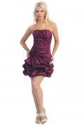 Ruching Applique Strapless Taffeta Short Column Cocktail Dress
