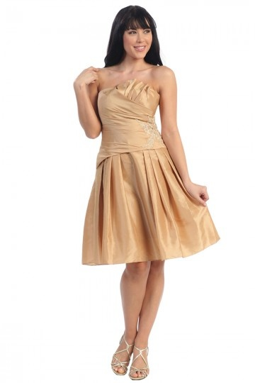 Strapless Yellow Pleats Ruching Taffeta Prom Dress