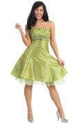 Pleats Beading Strapless Taffeta A line Cocktail Dress