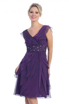 Wickford V neck Ruffles Purple Prom Gown