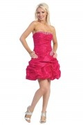 Ruching Beading Strapless Taffeta Red A line Cocktail Dress