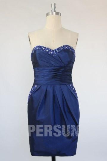 Sexy Kurzes blaues Herz-Ausschnitt Etui-Linie Ballkleid aus Taft Persun