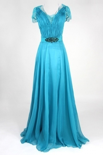Dressesmall Kate Princess Celebrity V neck Chiffon A line Prom Dress