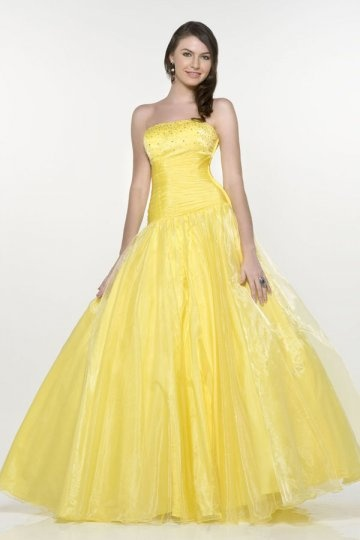 Woodstock Organza Strapless Beading Ruching Ball Gown Prom Dress
