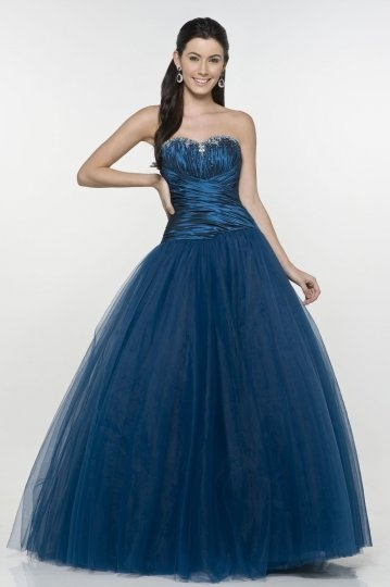 Wooler Tulle Sweetheart Beading Ruching Ball Gown Prom Dress