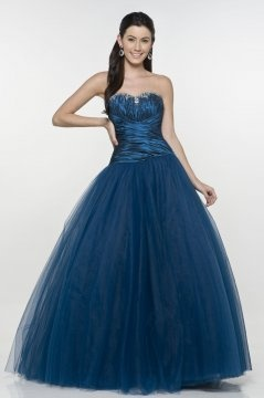 Wooler Blue Sweetheart Ruching Ball Gown Prom Dress