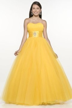 Woolwich Yellow Empire Ball Gown Evening Gown