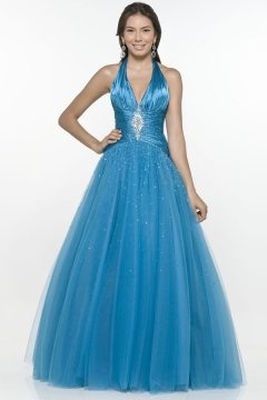 Wootton Blue Halter Up Ball Gown Prom Dress