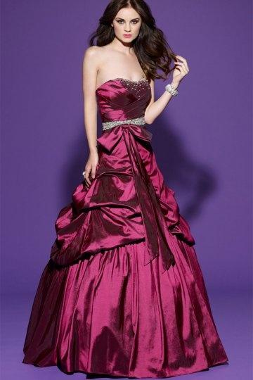 Bassett Taffeta Sweetheart Bow Beading Pick Up Skirt Prom Dress
